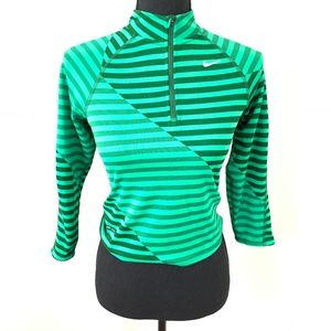 Nike Running Half Zip Cropped Striped Top S